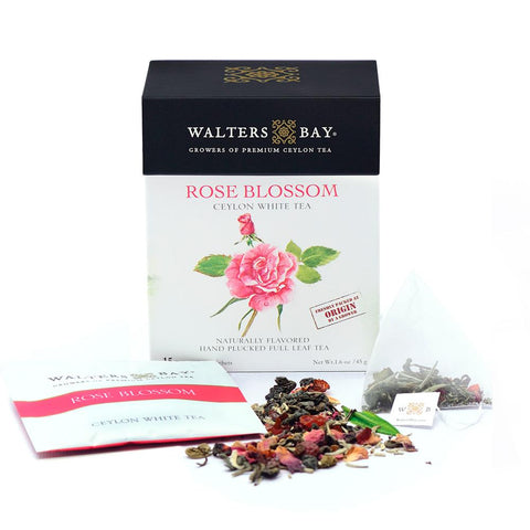 Rose Blossom Ceylon White Tea Full Leaf Tea Enveloped Tea Bags Envelope Main