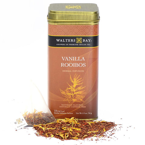 Vanilla Rooibos Herbal Infusion Full Leaf Tea Bags in Canister Tin Main