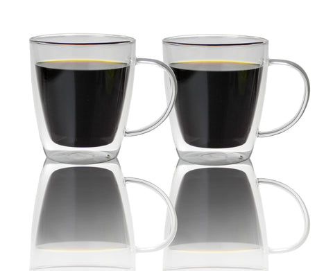 Double Walled Glass Coffee Mugs 16 oz, Set of 2, Insulated Glass Cups for Morning Hot Coffee, Tea or Cold Drinks