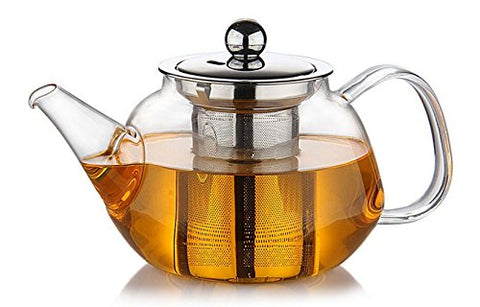 Premium Glass Teapot with Removable Stainless Steel Infuser that holds 34 oz (1000 ml) - Perfect for Making Loose Leaf, Bagged, or Blooming Tea - Made from Clear Heat Resistant Borosilicate Glass