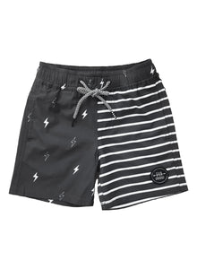 6yrs - Washed Blk Stripe Swim w/ mesh Trunk