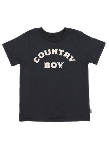 Country Boy Vintage Tee in Washed Black