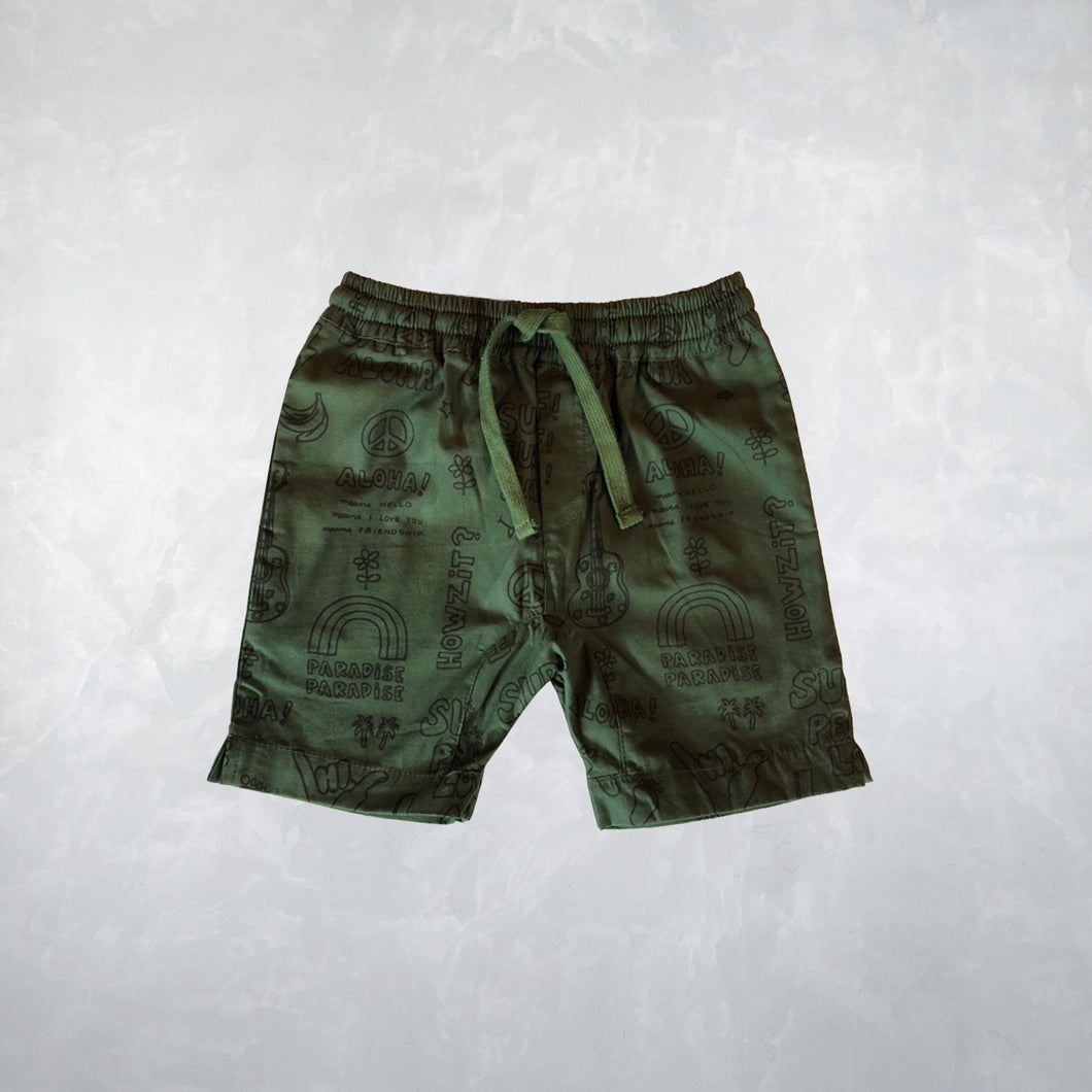 Kahiki Shorts in Outline Peace Dark Green