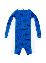 Shore Break Long Sleeve Baby Surf Suit in Mediterranean Blue