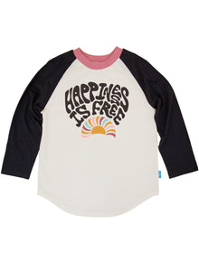 Happiness Is Free Raglan Long Sleeve