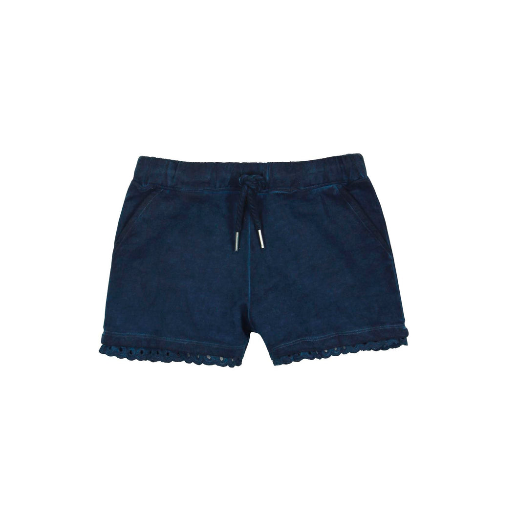 8yrs, 12yrs - Navy Eyelet Trim Girls Short