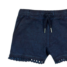 Navy Eyelet Trim Girls Short
