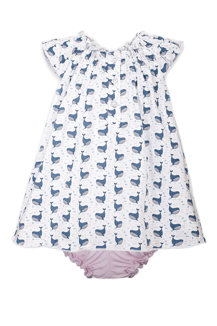 Henley Dress + Bloomer - Fin Whale on White