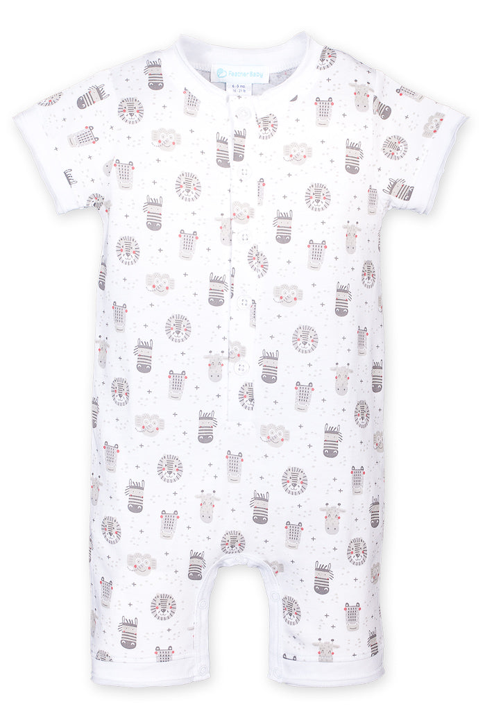 Henley Romper - Safari on White
