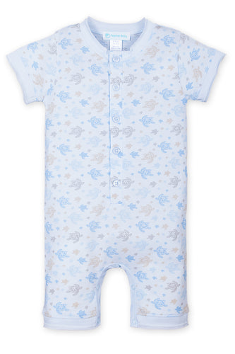 9-12mos - Henley Romper - Sea Turtles on Baby Blue