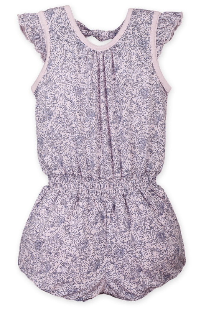 Tie Romper - Sylvia Floral on Soft Pink