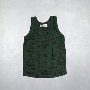Anchor Tank in Outline Peace Dark Green
