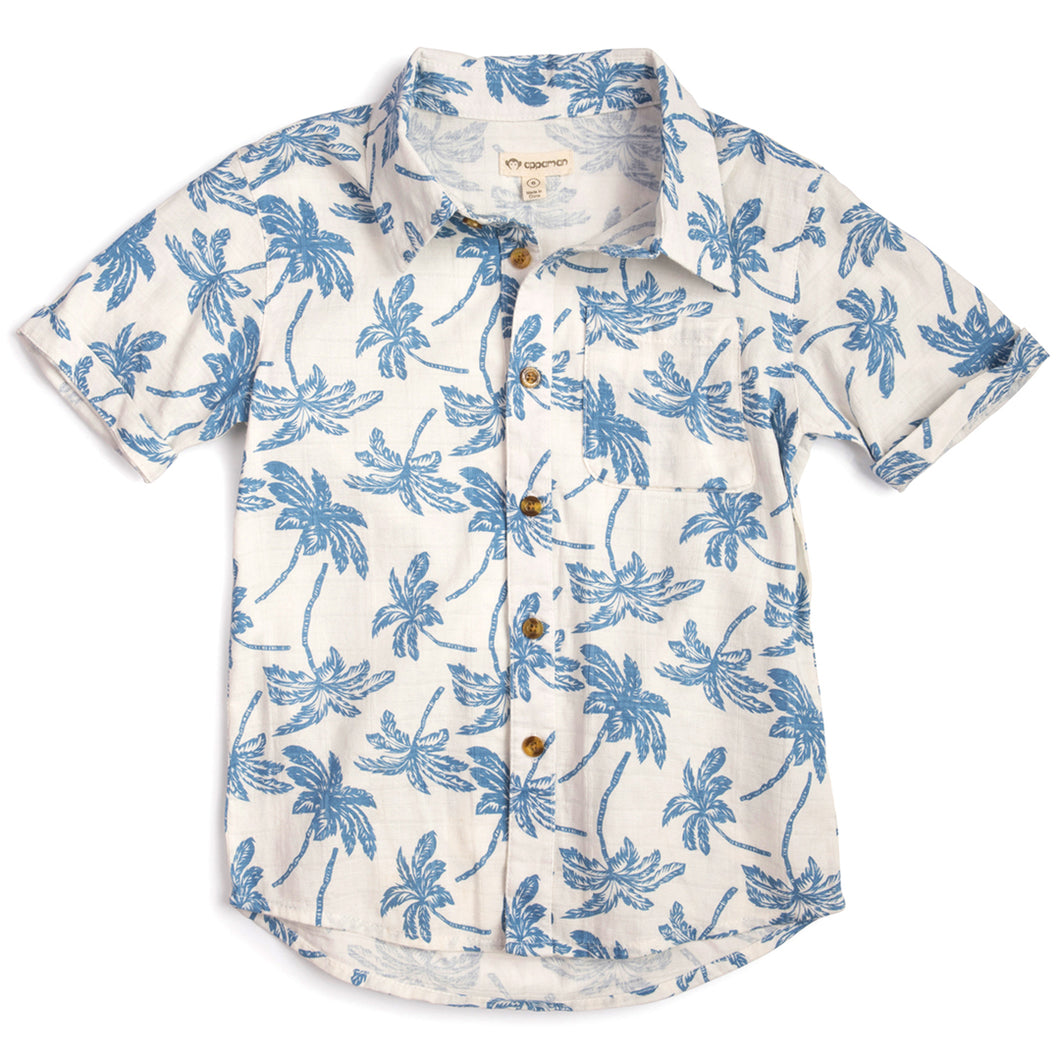 6yrs - Aloha Shirt Blue Palms