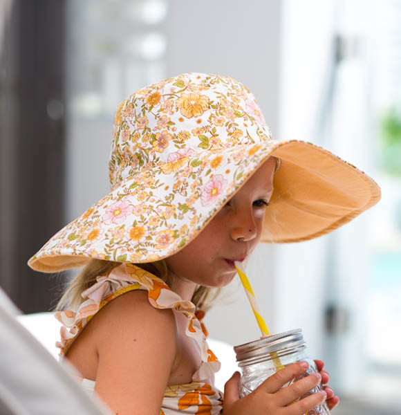Girl's Reversible Wide Brim Hat - Lori