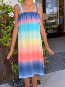 Multi Ombre Ruffle Sun Dress