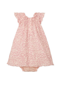 Henley Dress + Bloomer in Big Floral - Pink on Coral