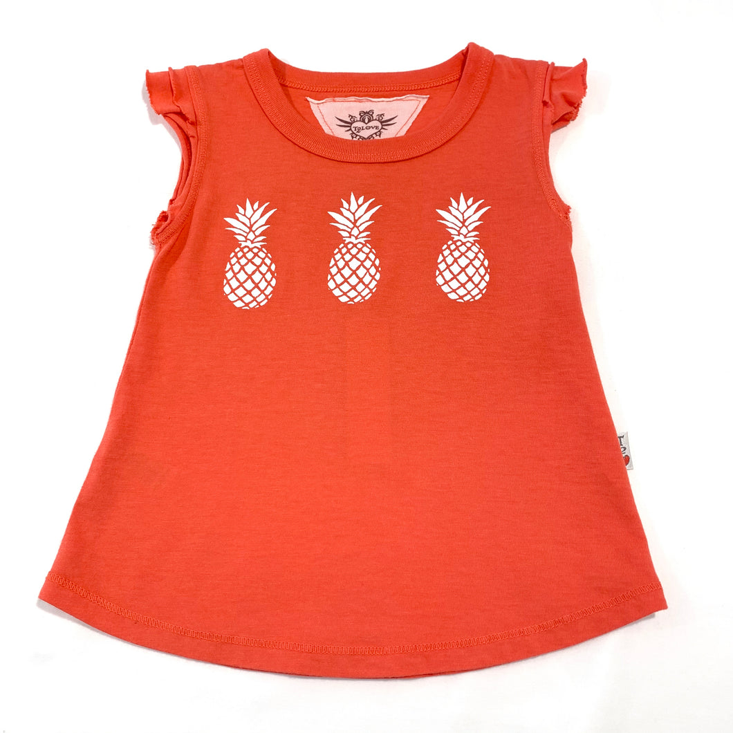 12yrs - Coral Double Ruffle Sleeve Tank