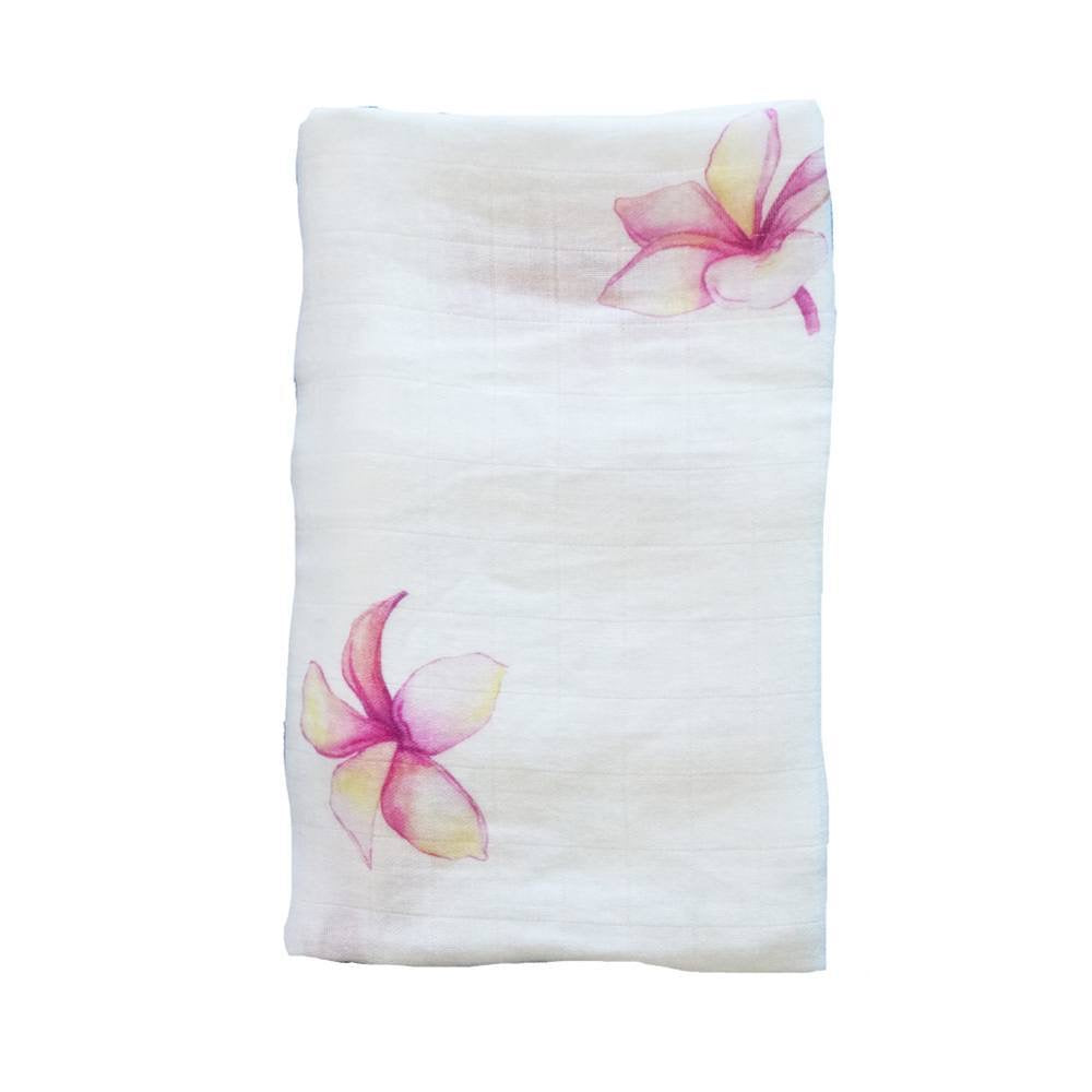 Plumeria Hawaiian Aloha Theme Bamboo Cotton blend Blanket