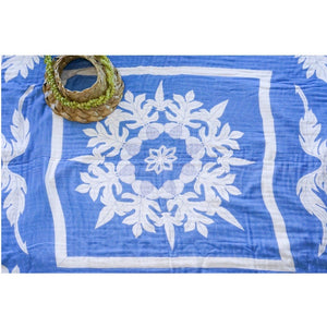 'Ulu Nani (Blue) Hawaiian Bamboo and Cotton blend Quilt