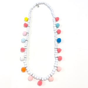 White Wooden Pom Pom Necklace