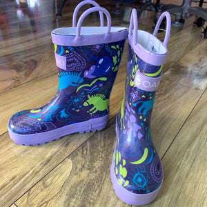 Purple Unicorn Loop Handle Rubber Rain Boots