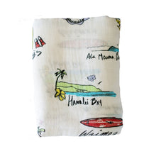 Surf Report Hawaiian Aloha Theme Bamboo Cotton blend Blanket