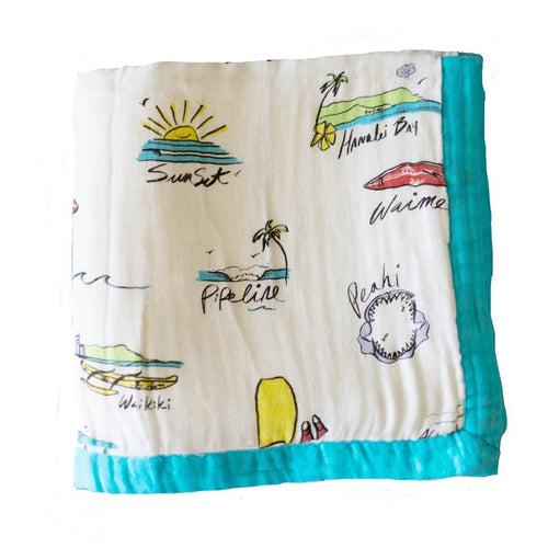 Surf Report Hawaiian Bamboo and Cotton blend Quilt