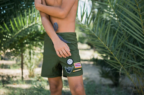 Green Patch Retro 4-Way Stretch Boardshort