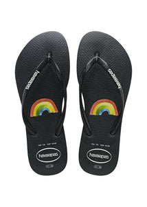 Kids Slim Placement Rainbow Sandal - blk/wht