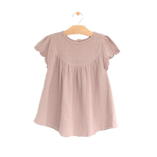 Muslin Flutter Sleeve Dress - Dusty Mauve