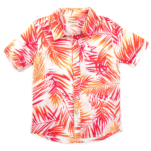 7yrs, 8yrs, 10yrs - Aloha Shirt Tropic Palms