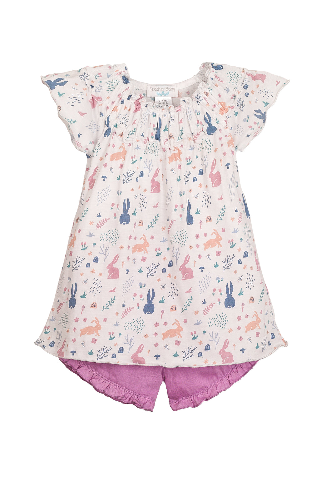 3-6mos - Ruched Tunic + Short Rabbit Hole Pink on White