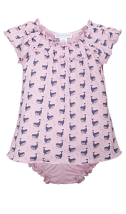 Ruched Tunic + Bloomer - Fin Whale on Soft Pink