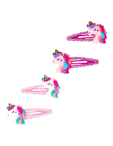 Unicorn Dreams Scalloped Snap Hairclips (Pink or Purple)