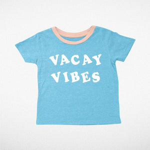 Vacay Vibes Tri Teal Girls Tee