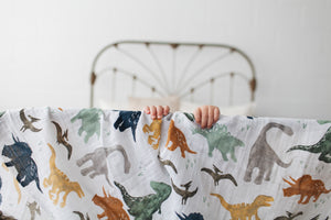 Cotton Muslin Swaddle in Dino Friends