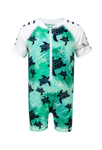 0-6mos - Turtle SS Boys Sunsuit