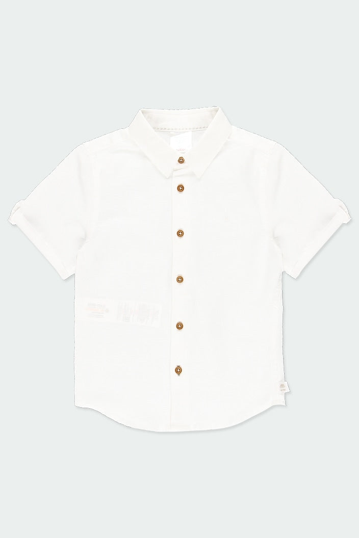 Linen Short Sleeve Shirt in White