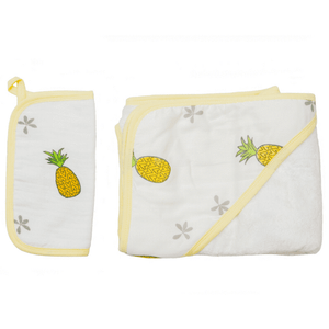 Hooded Towel and Wash Cloth Set - Pineapple