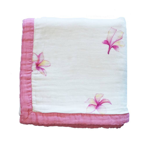 Plumeria Hawaiian Bamboo and Cotton blend Quilt