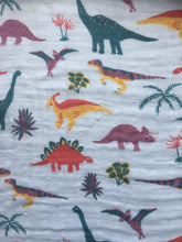 Cotton Muslin Swaddle in Embroidosaurus
