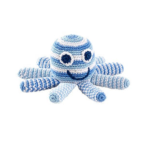 Pale Blue Octopus Crochet Rattle Plushie