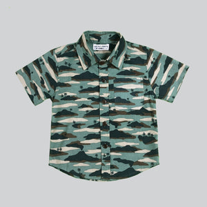 Aloha Casual Collar Shred Shirt in Island Camo Jungle Mix