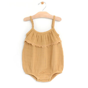 Muslin Embossed Flutter Bubble Romper - Straw