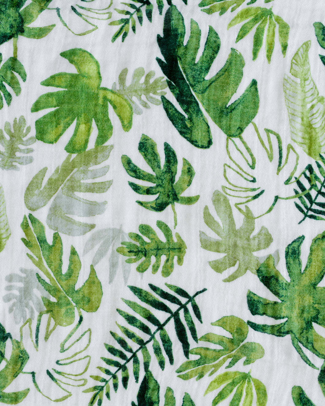Cotton Muslin Swaddle Blanket in Tropical Leaf