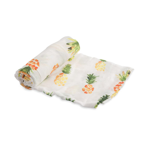 Deluxe 100% Bamboo Muslin Swaddle in Pineapple