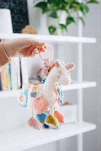 Link & Love Unicorn Activity Plush Silicone Teether Toy