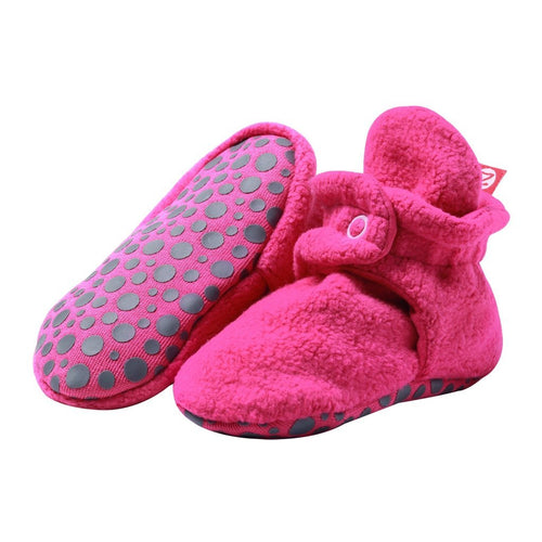 Zutano Cozie Fleece Stay-On Gripper Bootie - Pink
