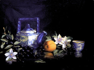 apricot, grapes with blossoms and teapot.