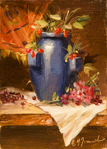 "Mini_Azul Jarron y Flores 4""x5"" Oil on Masonite (Unframed)"